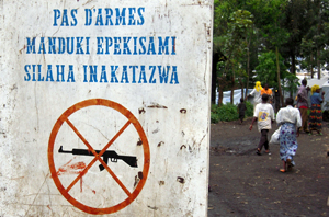 No guns sign on the entrance of Mugunga refugee camp in Congo. Credits: Peter Kristvik Risholm/Caritas Norway