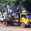 A truck picks up passengers along the road in Southwestern Niger. Credit: Commons