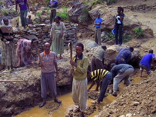 Cash for work program in Ethiopia.