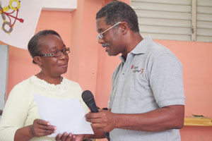 Marie Solange Nestor and Raoul Pierre Louis Turgeau, the chairman of the board of directors of the local authority of Villa Rosa (CASEC), Credit:Worms/Caritas