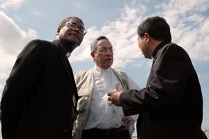 Cardinal Oscar Rodriguez Maradiaga, Bishop Pierre Dumas, and Papal Nuncio Archbishop Bernardito Auza in Port-au-Prince. Credits: Caritas