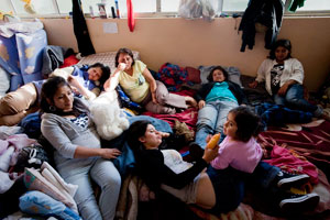 Many families are currently living in the Chacaria school in Constitution, on the of the major cities hit hard by the February 27th 8.8 magnitude earthquake and subsequent tsunami in Chile. Credits: Katie Orlinsky/Caritas 2010
