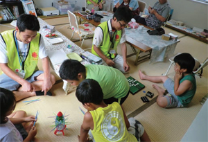 At Caritas bases, children's play rooms like this one provide gathering places for the local community, places for relaxed conversation. Credits: Caritas Japan
