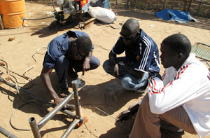 Masonry training is one practical skill which the SCC community centre is providing for camp members. Credits: Caritas