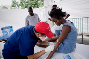 Haiti's health system was already a shambles before the earthquake with less than 30 percent of the population having access to health care services - and even worse, only 17 percent had access to sanitation. Credits: Orlinsky/Caritas