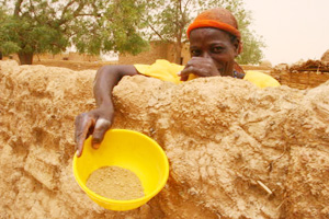 A woman holds a bowl of millet husks in Toudoun Jaka, Niger. In 2010, Nigeriens ate millet husks--normally used to feed livestock--because they lacked food. Credits: Lane Hartill/CRS