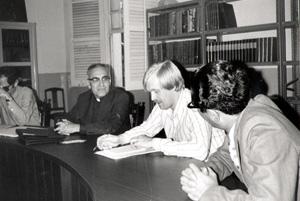 Archbishop Óscar Romero with Caritas staff in 1978 Credits: Caritas archive
