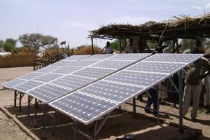 This solar panel is offering a viable alternative to the diesel powered, high maintenance pumps. Credits: Caritas