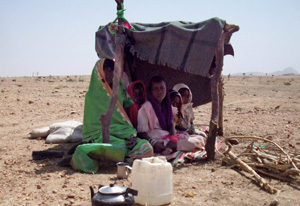 In January 2013, violence in Darfur caused many people to flee their homes. Some have settled in barren areas outside the town of Zalingei. Credits: NCA staff