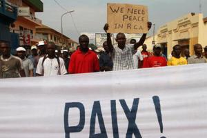 Traders demonstrate near the presidential palace in Bangui January 5, 2013. Credits: REUTERS/Luc Gnago courtesy of AlertNet.org