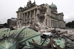 Collapsed buildings after a powerful 7.0 magnitude earthquake struck New Zealand's South Island. Credits: Catholic Diocese of Christchurch, NZ