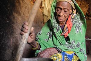 The 2011 harvest was disastrous for Mintou and her family in Dosso region, Niger. Her four sons have left the village to find work, so they can send money home. But, with seven months until the next harvest, Mintou has run out of food to feed her five grandchildren. Credits: Nick Harrop/CAFOD
