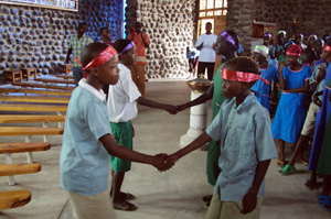 At a peacebuilding camp in northern Kenya, children from rival tribes play games to build trust.  Credits: Diocese of Marsabit