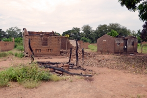 Burned down village on way to Bossangoa, 350 km north of Bangui. Credit: Valerie Kaye/Caritas