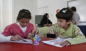 Informal education classes at a Caritas centre in Jordan include art. Danny Lawson/PA wire