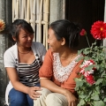 Meena (orange shirt) received training from Caritas Nepal that helped her identify when people might be bought and sold by human traffickers. Credit: Orlinsky/Caritas
