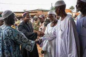Msgr Dieudonné Nzapalainga meets with Muslim community leaders. Credit Sam Phelps/CRS