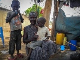 Julia Foni Laku and her children have been seeking protection in St Theresa Catholic Cathedral in Juba since December.  Credit: Joseph Kabiru/CAFOD