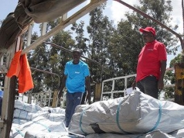 Caritas aid includes food, plastic sheeting, blankets, mats, jerry cans, soap, mosquito nets, clean water and health care.