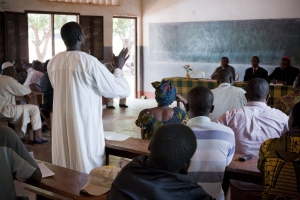 A muslim speaks during a meeting with the religious leaders in Bangassou. Photpo by Matthieu Alexandre for Caritas Internationalis