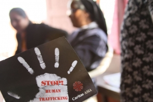 Sister Pamela Gulung, right, helps raise awareness of human trafficking in eastern Nepal. Credit: Laura Sheahen/Caritas