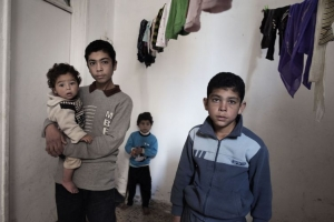 Yahia's children in their home in Jordan. Credit: Alessio Romenzi/Caritas Switzerland
