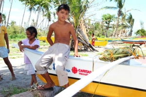 Boats distributed by diocese of Palo following Typhoon Haiyan. Credit Mark Mitchell/Caritas New Zealand