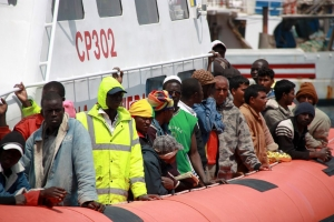 Migrants from North Africa picked up off the Italian coast. Photo by Caritas.