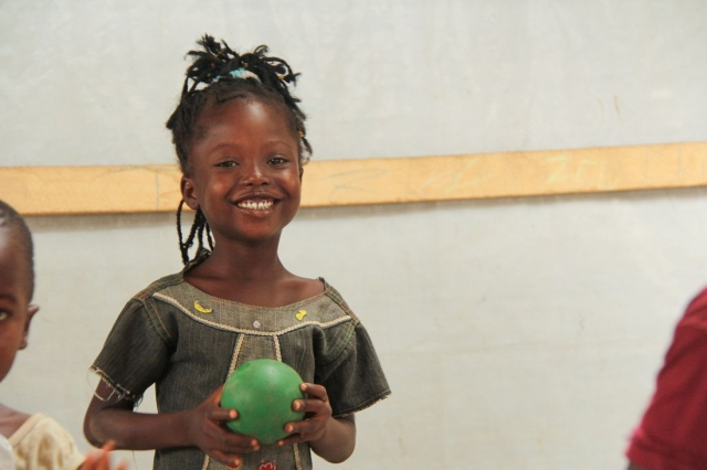Caritas is working with the UN to provide a safe place for children to play in the relief camps. Credit: Kim Pozniak/CRS