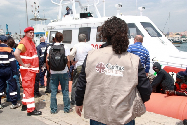 Caritas in Lampedusa provides help to the newly arrived migrants. Credit: Caritas