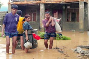 Massive floods have driven thousands of people in Nepal from their homes. Photo by Caritas Nepal