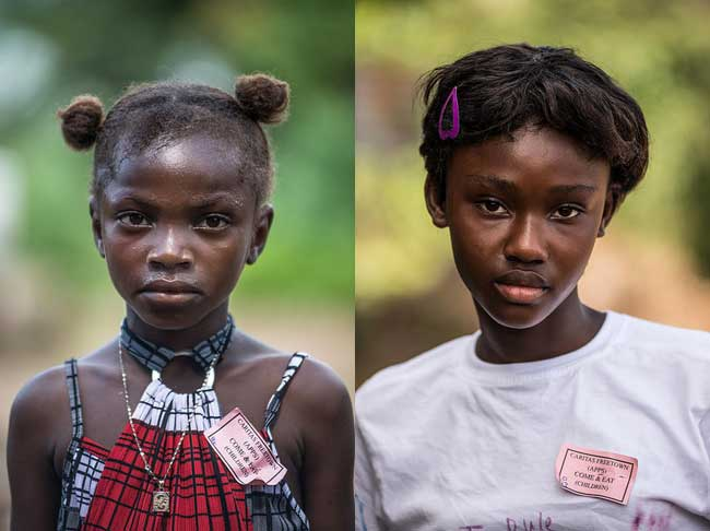 Juliana (L) and Katherine (R) lost both of theier parents to Ebola in Sierra Leone. Photo by Tommy Trenchard for Caritas