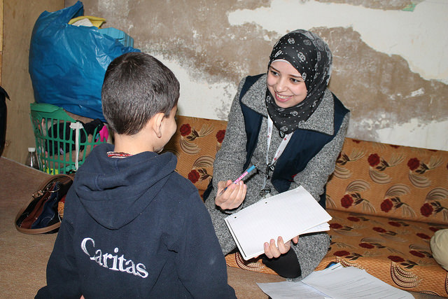 Caritas Jordan winter programmes for refugees. Caritas has run winterization programmes, providing fuel, warm clothes and bedding and making tents and accommodation more resistant to cold conditions. Photo by CLMC/Caritas