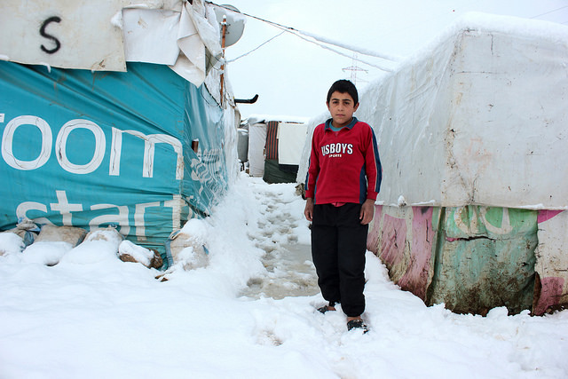 Syrian refugee children are left without proper clothes and shoes. Credit: CLMC/Jean J. Khoury