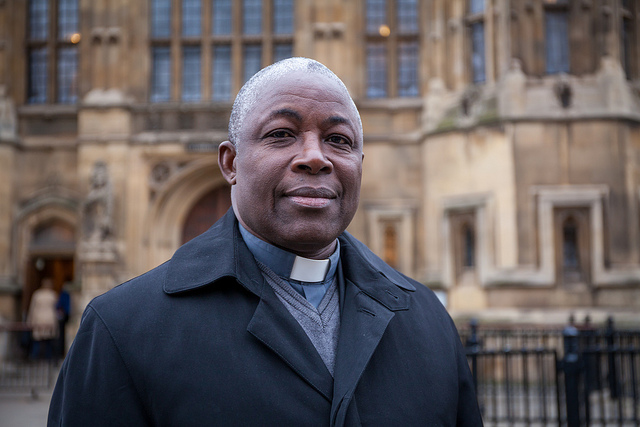 Archbishop Edward Thamba Charles of Freetown, the most senior Catholic cleric in Sierra Leone, outside Westminister before speaking to UK lawmakers on Ebola. Credit: Cafod
