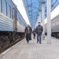 In Slovyansk in eastern Ukraine, hundreds of families are finding refuge on a train positioned at the train station. Photo by Volodymyr Nechaiev for Catholic Relief Services