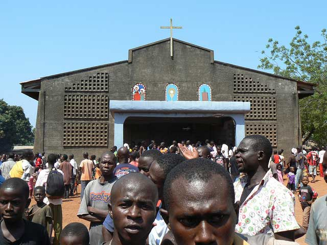 A church in Bangui where hundreds of people are seeking saftey. Close to a million people have fled their homes in the Central African Republic as conflict and chaos continues to grip the country. Photo by Pétula Malo/Caritas