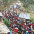 Earthquake survivors arrive at a Caritas distribution in Laharepauwa, Rasuwa. Credit. Caritas Nepal