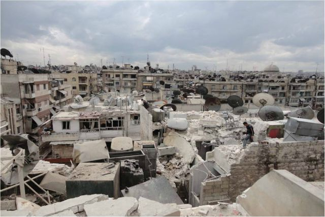 Devastation after a night of bombardment in the Syrian city of Aleppo. Credit: Caritas