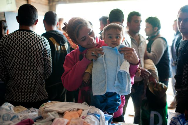 Serbians have donated clothes for the refugees via Caritas. Photos by Kira Horvath for Catholic Relief Services