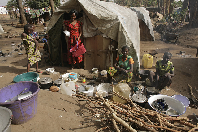Internally displaced people live in a camp at the Catholic mission in Bossangoa, Central African Republic. Photo by Caritas