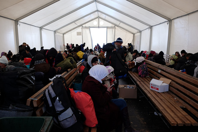 Caritas serves more than 500 portions of soup a day in a transit camp in Gevgelija for refugees and migrants crossing into Macedonia from Greece. Credit: Irene Broz/Caritas