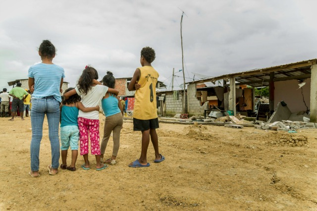 A 7.8 earthquake was the strongest in the country since 1979, it flattened buildings and buckled the highways along the country's Pacific coast and killing hundreds. Photo by Eduardo Naranjo for Catholic Relief Services