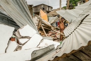 A 7.8 earthquake hit the near the town of Portoviejo, Ecuador, on Sunday April 17, 2016. it's the strongest in the country since 1979, it flattened buildings and buckled the highways along the country's Pacific coast and killing hundreds.    CRS and it's partner Caritas are responding to the earthquake with assessments and relief.  Photo by Eduardo Naranjo for Catholic Relief Services