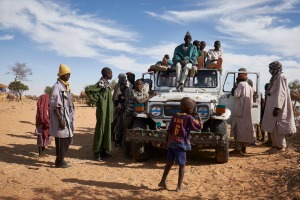A truck prepares to depart at a camp of internally displaced people near the village of Kouble by the side of the road on the highway outside of Diffa, Niger on February 17, 2016. The truck is departing to the nearby border where men will return to tend fields in their villages. The camp is made up of displaced people and refugees from villages along the border between Niger and Nigeria and who fled attacks from Boko Haram.