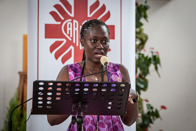 Rose Sagna talking about her work with Caritas Senegal at WYD in Krakow, Poland.