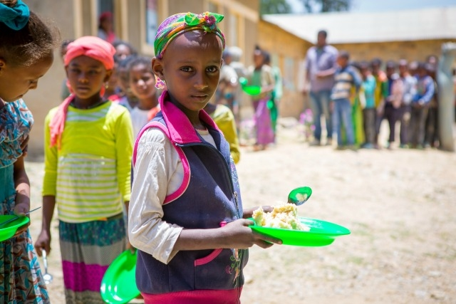 """Danait and other students at Holy Trinity primary school benefit from a church-sponsored feeding programme. It's a lifeline for the children and also stops them from dropping out of school. """"Many of the children came without eating breakfast. They were hungry and not able to do their best in class,"""" says Father Solomon from the Adigrat Diocese"""