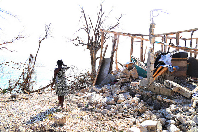 Mikai Edward 42, lost her home where she lives with her six children and husband in front of the ocean in the Zoranje neighborhood of Roche Bateau., Photo by Marie Arago for Catholic Relief Services.