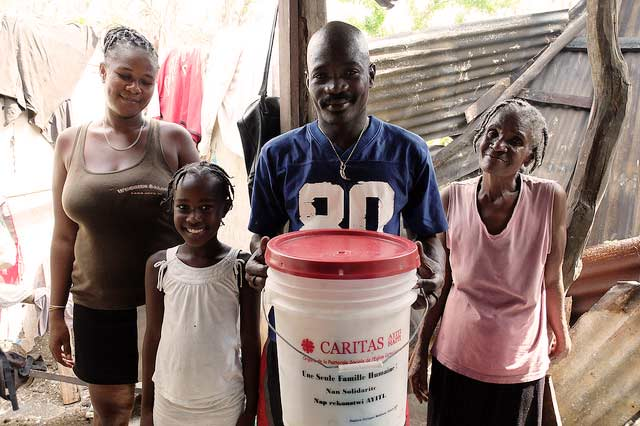 Nerlande Clairveau and her family received a food and hygiene kit from Caritas Jeremie