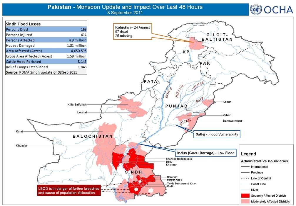 Five million people affected by downpours in Pakistan